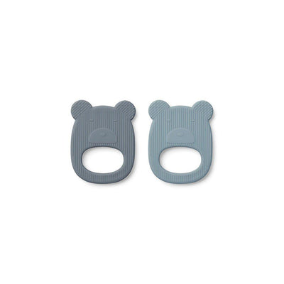 Liewood Geo Mr Bear Teethers - 2 Pack - Blue Mix - 2020-Teethers- Natural Baby Shower
