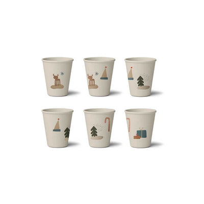 Liewood Gertrud Bamboo Cups - Holiday Mix - 6 Pack-Cups & Straws- Natural Baby Shower