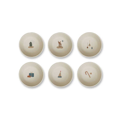 Liewood Greta Bamboo Bowl - Holiday Mix - 6 Pack-Bowls & Plates- Natural Baby Shower