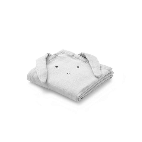 Liewood Hannah Muslin Rabbit Cloth Set - Dumbo Grey-Muslin Squares- Natural Baby Shower