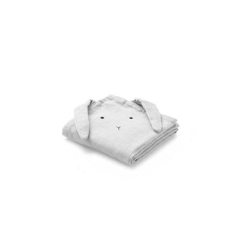 Liewood Hannah Rabbit Muslin Cloth - Dumbo Grey - 2 Pack