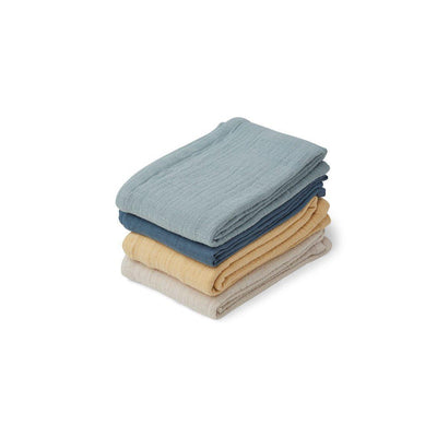 Liewood Leon Muslin Cloths - Blue Mix - 4 Pack-Muslin Squares- Natural Baby Shower