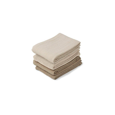 Liewood Leon Muslin Cloths - Natural/Sandy Mix - 4 Pack-Muslin Squares- Natural Baby Shower