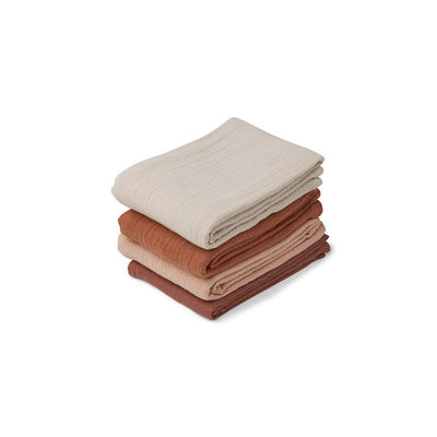 Liewood Leon Muslin Cloths - Rose Mix - 4 Pack-Muslin Squares- Natural Baby Shower