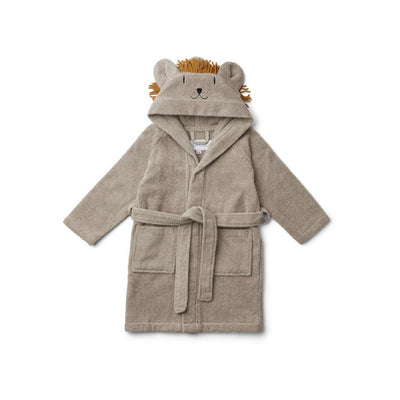 Liewood Lily Bathrobe - Lion - Stone Beige-Towels & Robes- Natural Baby Shower
