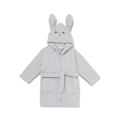 Liewood Lily Rabbit Bathrobe - Dumbo Grey-Towels & Robes- Natural Baby Shower