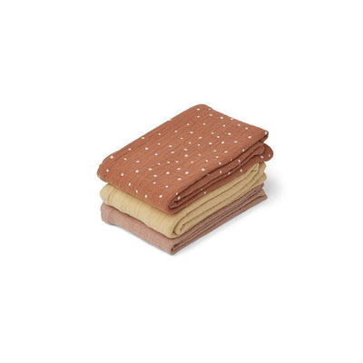 Liewood Line Muslin Cloths - Confetti Terracotta Mix - 3 Pack-Muslin Squares- Natural Baby Shower