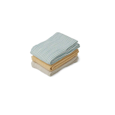 Liewood Line Muslin Cloths - Sea Blue Stripe Mix - 3 Pack-Muslin Squares- Natural Baby Shower