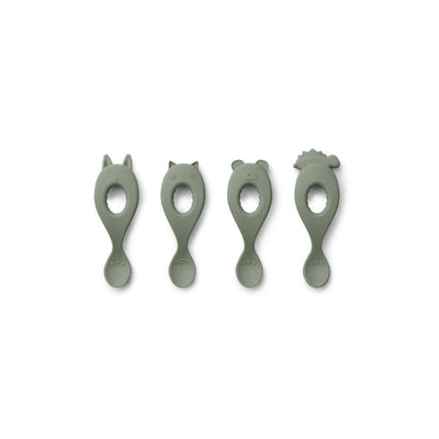 Liewood Liva Silicone Spoon - 4 Pack - Faune Green-Cutlery-Default- Natural Baby Shower
