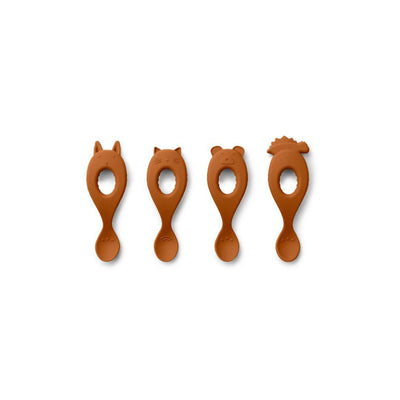 Liewood Liva Silicone Spoon - 4 Pack - Mustard-Cutlery-Default- Natural Baby Shower