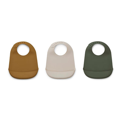 Liewood Maru Silicone Bibs - 3 Pack - Hunter Green-Bibs- Natural Baby Shower