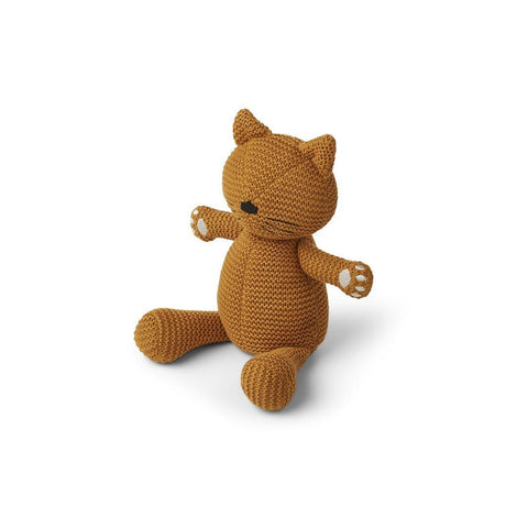 Liewood Missy Knit Teddy - Cat - Mustard-Soft Toys- Natural Baby Shower