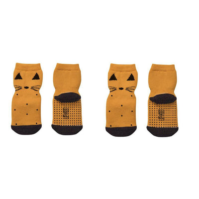 Liewood Nellie Anti Slip Socks - Cat Mustard - 2 Pack-Socks- Natural Baby Shower