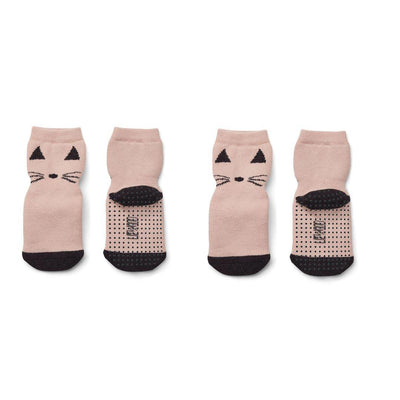 Liewood Nellie Anti Slip Socks - Cat Rose - 2 Pack-Socks- Natural Baby Shower