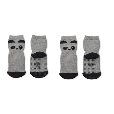 Liewood Nellie Anti Slip Socks - Panda Grey Melange - 2 Pack-Socks- Natural Baby Shower