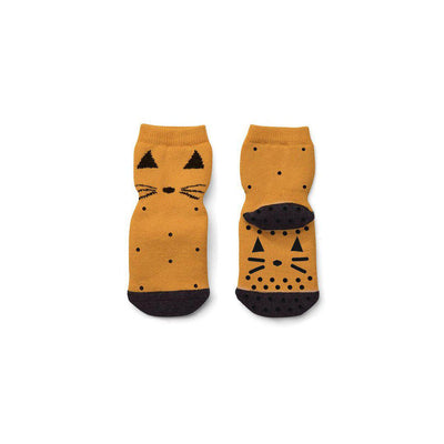 Liewood Nellie Cat Anti Slip Socks - Mustard-Socks- Natural Baby Shower