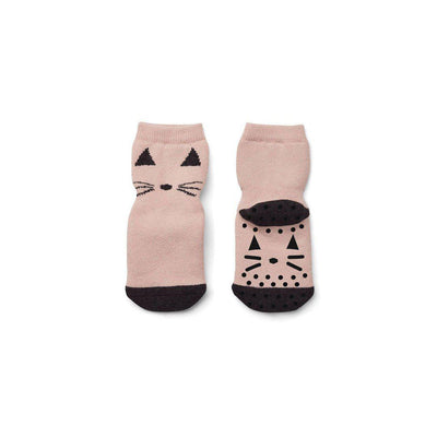 Liewood Nellie Cat Anti Slip Socks - Rose-Socks- Natural Baby Shower