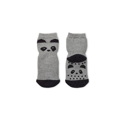 Liewood Nellie Panda Anti Slip Socks - Grey Melange-Socks- Natural Baby Shower