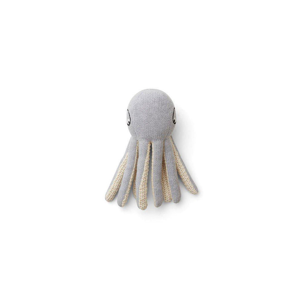 Liewood Ole Octopus Knit Mini Teddy - Grey Melange-Soft Toys- Natural Baby Shower