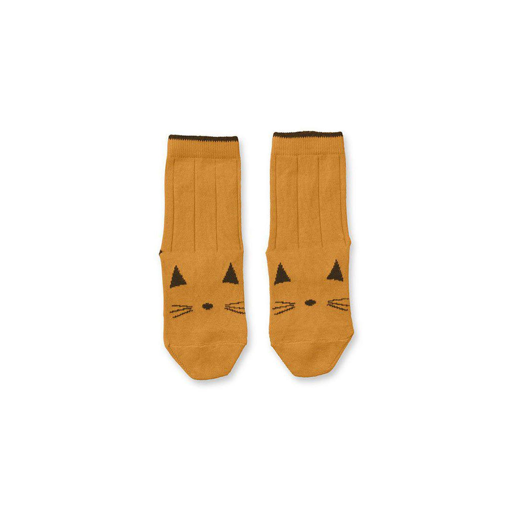 Liewood Silas Cat Socks - Mustard-Socks- Natural Baby Shower