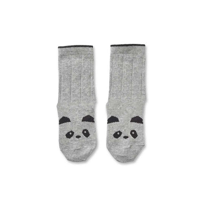 Liewood Silas Panda Socks - Grey Melange-Socks- Natural Baby Shower