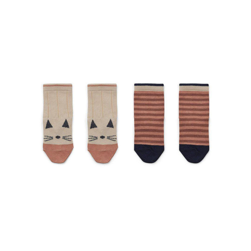 Liewood Silas Socks - Cat - Stripe Coral Blush-Socks- Natural Baby Shower