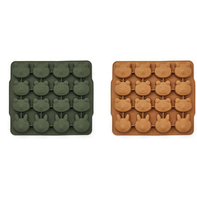 Liewood Sonny Ice Cube Tray - Hunter Green/Mustard Mix - 2 Pack-Food Storage- Natural Baby Shower