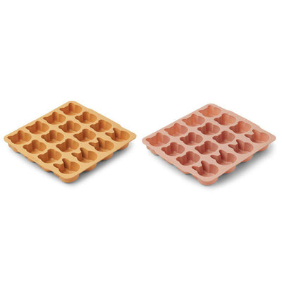 Liewood Sonny Ice Cube Tray - Yellow Mellow/Dark Rose Mix - 2 Pack-Food Storage- Natural Baby Shower