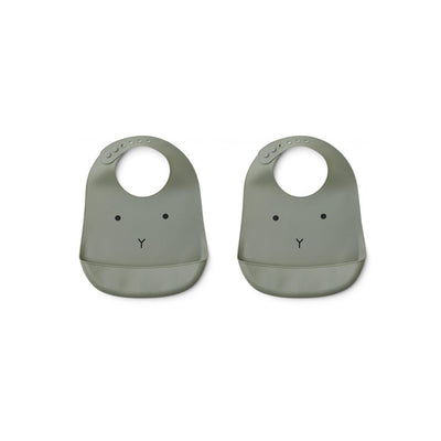Liewood Tilda Rabbit Silicone Bibs - Faune Green - 2 Pack-Bibs- Natural Baby Shower