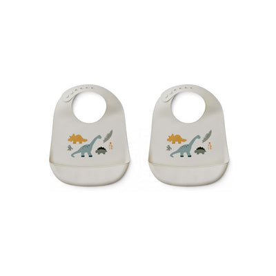 Liewood Tilda Silicone Bibs - Dino Mix - 2 Pack-Bibs- Natural Baby Shower