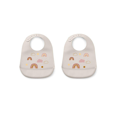 Liewood Tilda Silicone Bibs - 2 Pack - Rainbow Love Sandy-Bibs- Natural Baby Shower
