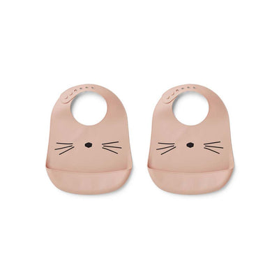 Liewood Tilda Silicone Bibs - Rose - 2 Pack-Bibs- Natural Baby Shower