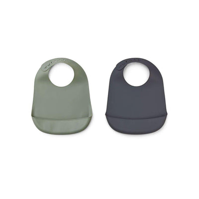 Liewood Tilda Silicone Bibs - Solid - 2 Pack - Faune Green/Stone Grey Mix-Bibs- Natural Baby Shower