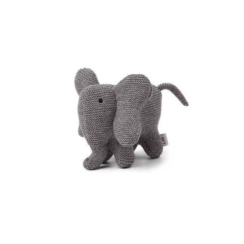 Liewood Vigga Knit Mini Teddy - Elephant - Grey Melange-Soft Toys- Natural Baby Shower