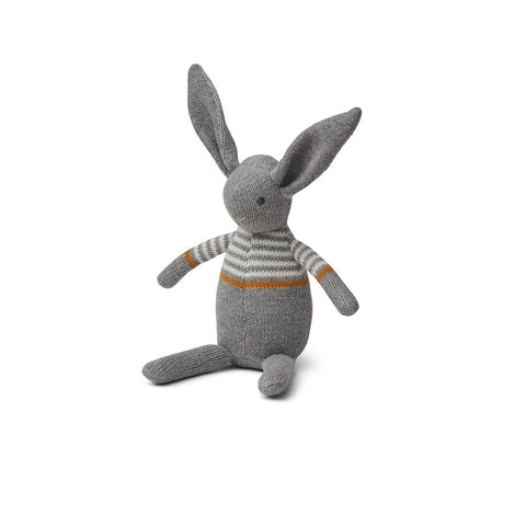 Liewood Vigga Knit Mini Teddy - Rabbit - Grey Melange-Soft Toys- Natural Baby Shower
