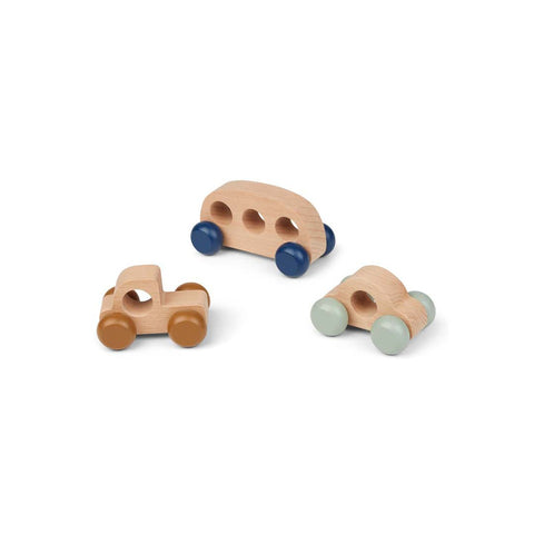Liewood Woody Mini Cars - Blue Mix-Play Sets- Natural Baby Shower