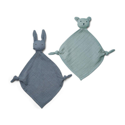 Liewood Yoko Mini Cuddle Cloths - Blue Mix - 2 Pack-Comforters- Natural Baby Shower