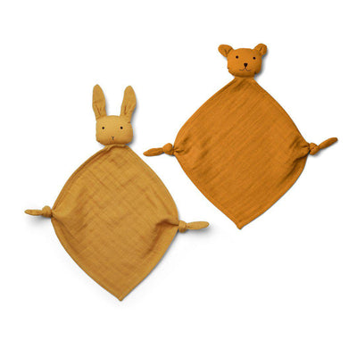 Liewood Yoko Mini Cuddle Cloths - Yellow Mix - 2 Pack-Comforters- Natural Baby Shower