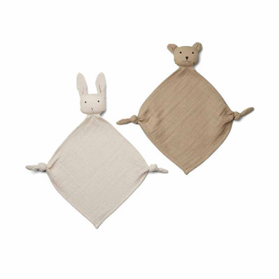 Liewood Yoko Mini Cuddle Cloths - Sandy/Stone Beige - 2 Pack-Comforters- Natural Baby Shower