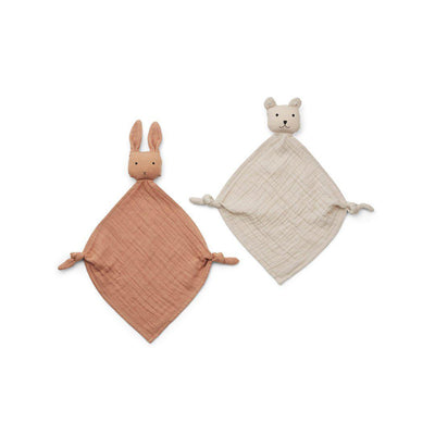 Liewood Yoko Mini Cuddle Cloths - Tuscany Rose/Sandy Mix - 2 Pack-Comforters- Natural Baby Shower