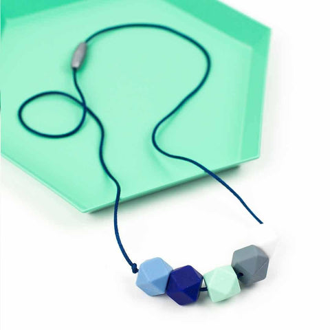 Little Magpies Jesse Teething & Nursing Necklace - Cool Blues