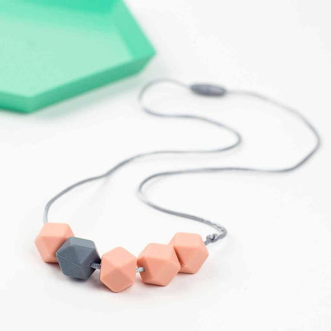 Little Magpies Jesse Teething & Nursing Necklace - Peach + Grey