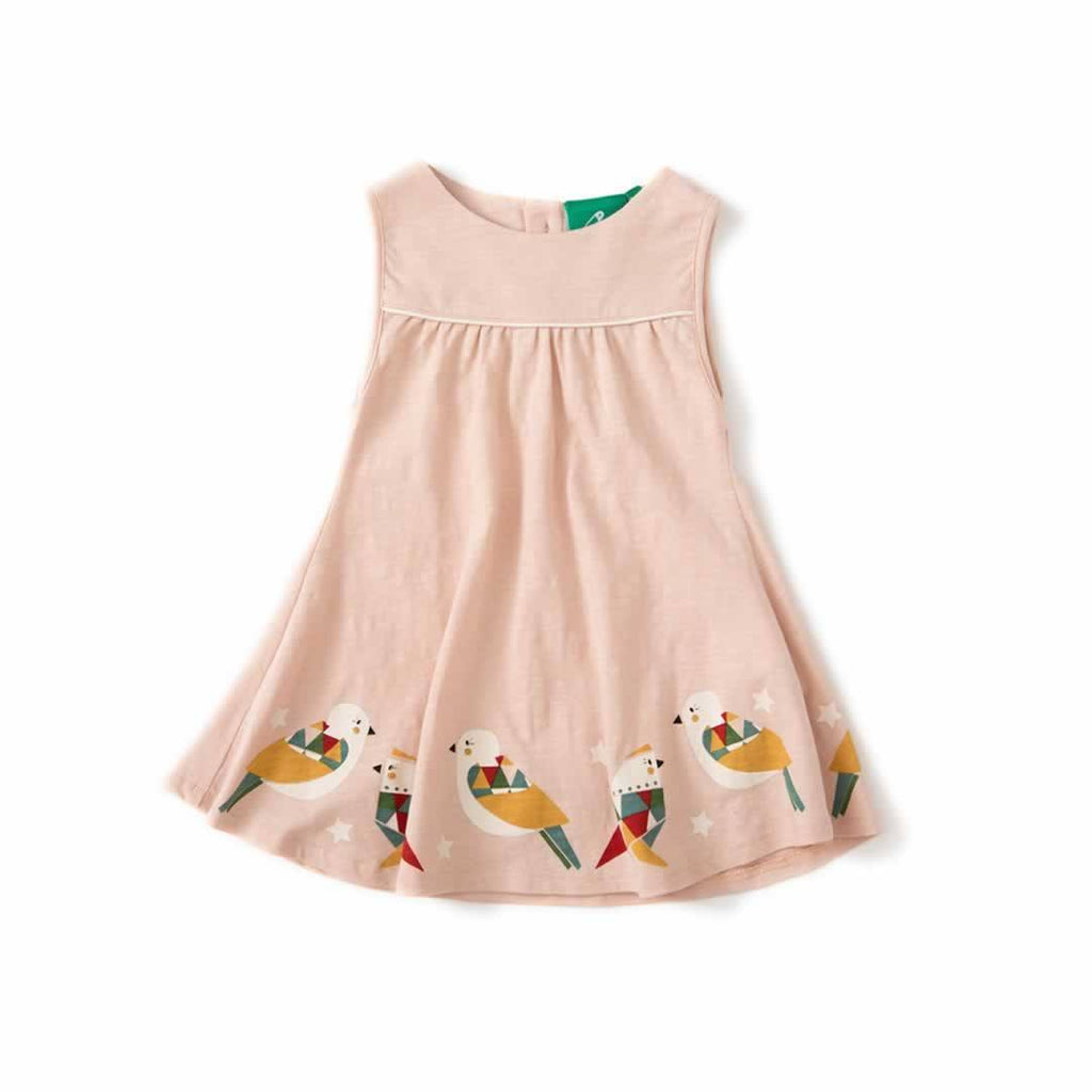 Little Green Radicals - Origami Birds Story Time Sundress in Cloud Pink
