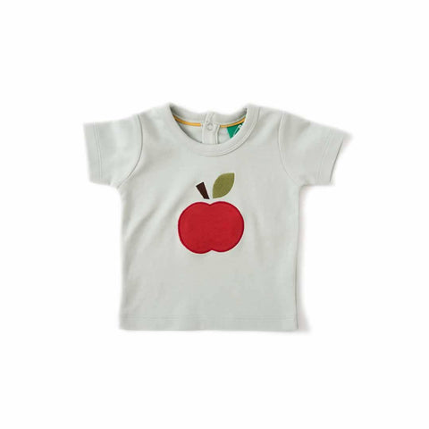 Little Green Radicals Applique Baby Tee An Apple A Day