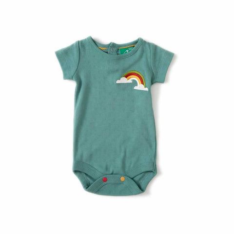 Little Green Radicals Pointelle Baby Body Waterfall Rainbow