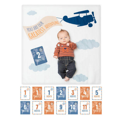 Lulujo Milestone Single Swaddle & Cards - Greatest Adventure-Gift Sets-One Size-Mixed- Natural Baby Shower