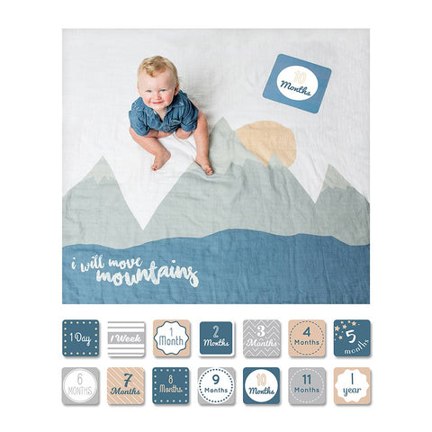 Lulujo Milestone Single Swaddle & Cards - I Will Move Mountains-Gift Sets-Default- Natural Baby Shower