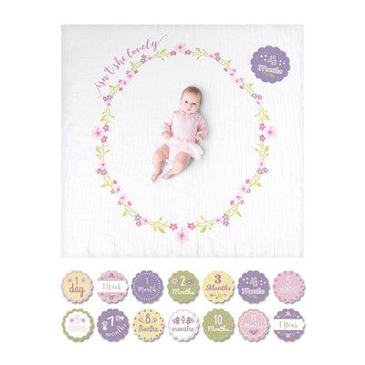 Lulujo Milestone Single Swaddle & Cards - Isn't she Lovely-Gift Sets-One Size-Mixed- Natural Baby Shower