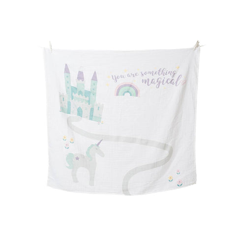 Lulujo Milestone Single Swaddle & Cards - Something Magical-Gift Sets-Default- Natural Baby Shower