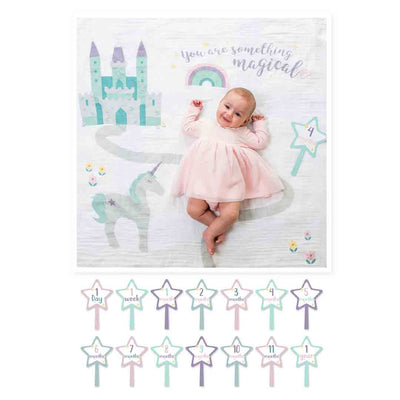 Lulujo Milestone Single Swaddle & Cards - Something Magical-Gift Sets-One Size-Mixed- Natural Baby Shower